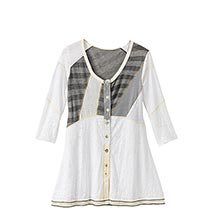 Neutral Mixed Button Front Tunic