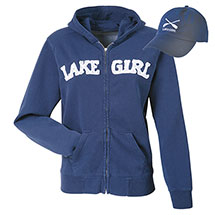 Women's Lake Girl Set: Zip Navy Hoodie and Matching Navy Hat