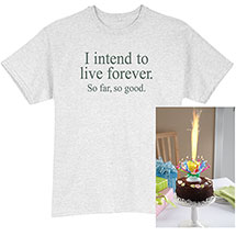 Musical Spinning Birthday Candle And Live Forever Unisex Adult T Shirt Set