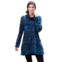 Hand-Batiked Royal Blues Tunic