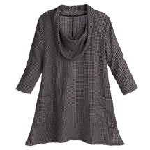 Seersucker Cowl-Neck Tunic