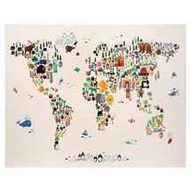 Illustrated World Map Canvas