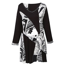 Parsley & Sage Black and White Patched Print Tunic Top