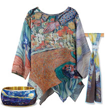 Van Gogh Tunic with Starry Night Bangle and Scarf