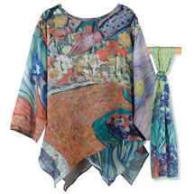 Van Gogh Tunic with Irises Scarf