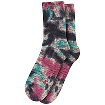 Set of 2 Teal Tie-Dye Cotton Blend Crew Socks