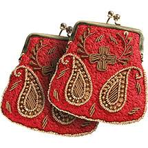 Set of 2 Exclusive Embroidered Kiss Lock Red Coin Purses