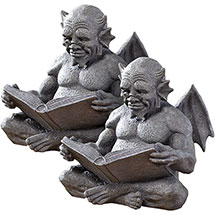 "Set of 2 Exclusive 12"" Cast Resin Reading Gargoyles"