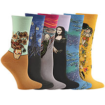 Set of 6 Pairs Fine Art Socks: Da Vinci/Munch/Van Gogh/Klimt