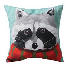 Winter Squirrel and Raccoon Indoor/Outdoor Pillows - Raccoon