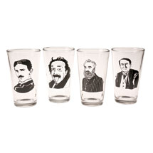 Great Minds Pint Glasses and Coasters Set