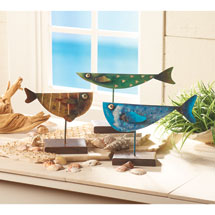 Three Fish Metal Sculpture Set