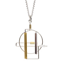 Barbie Levy Architectural Wire & Glass Tube Pendant (circle)