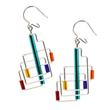 Barbie Levy Architectural Wire & Glass Tube Earrings (square)
