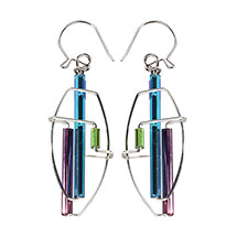 Barbie Levy Oceana Architectural Wire & Glass Tube Earrings (oval)