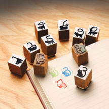 Cat Tail Numbers Rubber Stamps Set