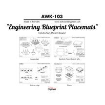 Engineering Blueprint Place Mats Set of 4