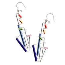 Barbie Levy Architectural Wire & Glass Tube Earrings (long)