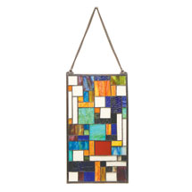 Modern Art Stained Glass Hanging Panel