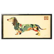 Handmade Framed Dachshund Collage