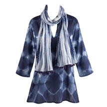 Indigo Tie-Dye Tunic and Scarf