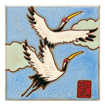 Japanese Sandhill Cranes Art Tile