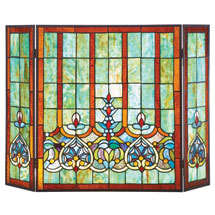 Stained Glass Hearts Fireplace Screen