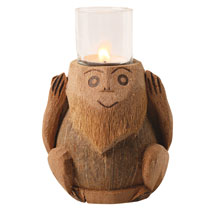 Three Wise Monkeys Coconut Tea Light Holders