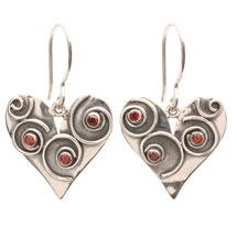 Spiral Heart Garnet Earrings