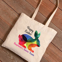 Personalized Easter Tote - Rainbow Bunny