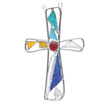 Stained Glass Church Window Cross Suncatcher