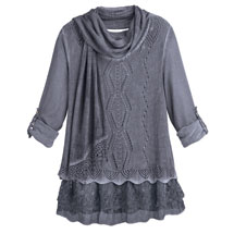 Lacy Layered Sweater Tunic and Scarf