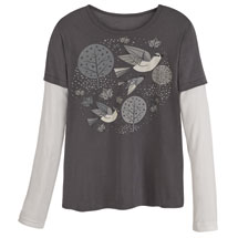 Mid-Century Modern Birds Organic Cotton Tees - Grays