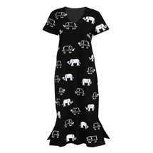 Elephants V-Neck Dress