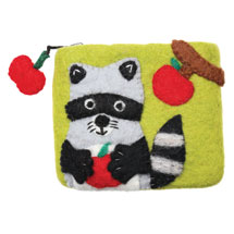 Felted Wool Animal Coin Pouches - Raccoon