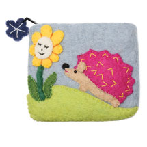 Felted Wool Animal Coin Pouches - Hedgehog