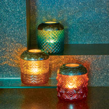 Vintage-Style Glass Votive Lanterns Set
