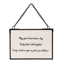 May Your Home Know Joy Glass Plaque