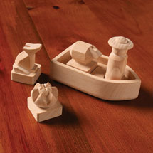 Hand-Carved Wood River Crossing Puzzle Set