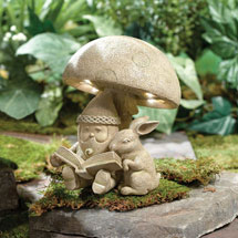 Lighted Gnome and Bunny Garden Sculpture