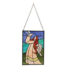 Angel with Dove Stained Glass Hanging Panel
