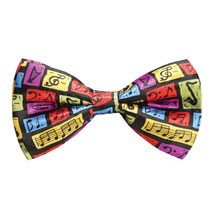 Colorful Music Symbols Silk Bow Tie
