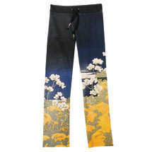 Asian Print Lounge Pants - Black with White Flowers