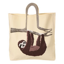 Sloth Tree Branch Cotton Canvas Tote