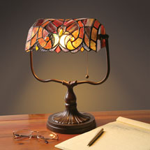 Stained Glass Banker's Lamp
