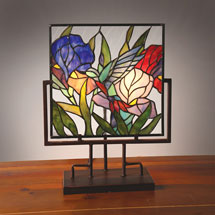 Hummingbird in Tulips Lighted Stained Glass Panel