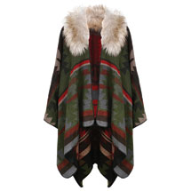 Faux Fur Hooded Cape