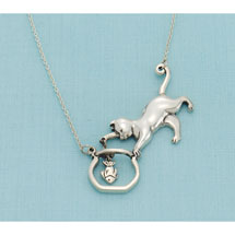 Cat and Fishbowl Necklace