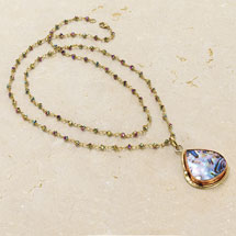 Abalone Teardrop on a Crystal Chain