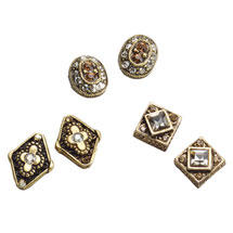 Bejeweled Victorian Charms Jewelry - Set of 3 Pairs Of Earrings